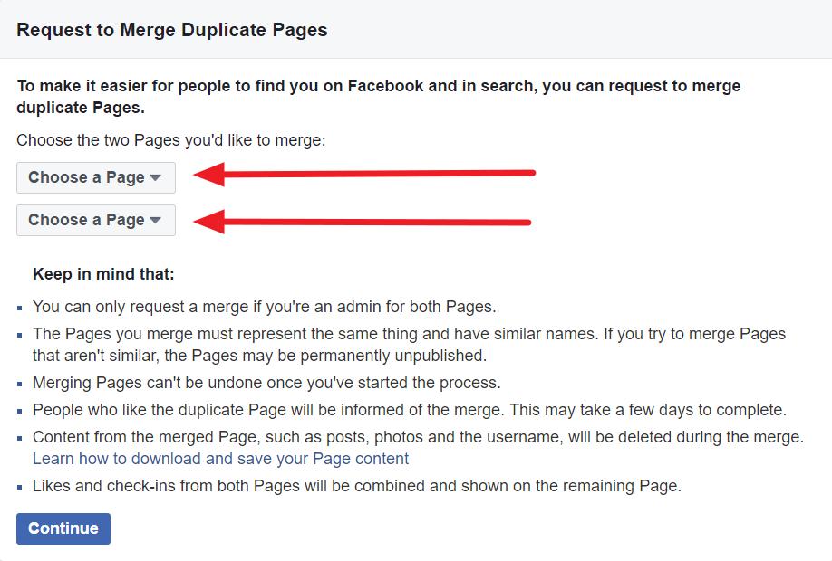 מיזוג דפי פייסבוק שלב בחירת הדפים